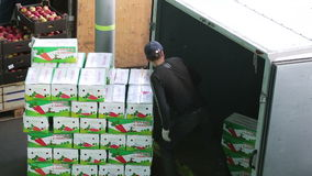 Man of transport company unload boxes with apples from truck. Russia, Novosibirsk - July 25, 2015: Emploee of transport company unload boxes of goods from stock video