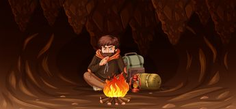 Man trapped in cave. Illustration vector illustration