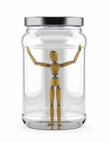 Man trapped in glass jar. Man trapped in a glass jar over white background Stock Photography