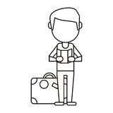 Man with travel bag and map thin line Stock Image