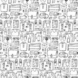 Man Travel Doodle Seamless Pattern Royalty Free Stock Image