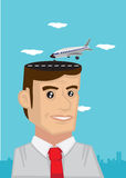 Man with Travel Dream Vector Cartoon Illustration Stock Photos