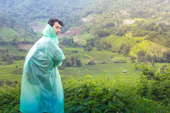 Man Travel Terrace rice fields in Chiangmai Thailand. Royalty Free Stock Image