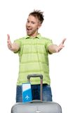 Man with travel trunk and ticket Royalty Free Stock Image