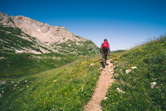 Man Traveler with backpack hiking outdoor Travel Stock Photos