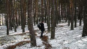 Man Traveler with backpack hiking in snow forest stock video