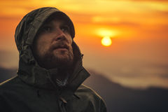 Man Traveler bearded face alone outdoor Stock Photo