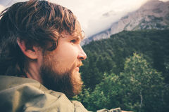 Man Traveler bearded face outdoor Travel Lifestyle Royalty Free Stock Photography