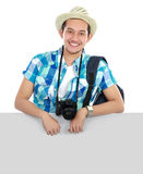 Man traveler with blank space Stock Images
