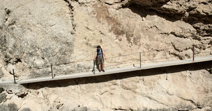 Man traveler hiking along mountain trails. Spain stock photography