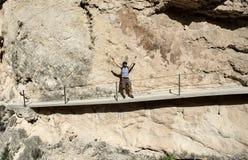 Man traveler hiking along mountain trails. Spain stock photos
