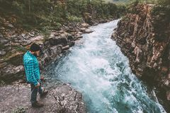 Man traveler hiking travel lifestyle adventure vacations royalty free stock images