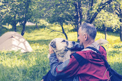Free Man Traveler Is Playing With The Big Dog In A Camp Royalty Free Stock Images - 95215399