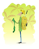 Man traveler standing and looking at map on jungle background Royalty Free Stock Photography