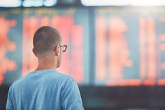 Man traveling by airplane Stock Photos