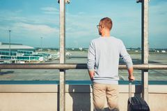 Traveler waiting for departure Stock Images