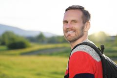Man traveling with backpack Stock Image
