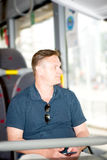 Man traveling on bus Stock Photos