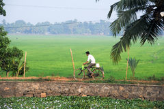 Man traveling with his bike near Alleppey Stock Photo