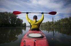 A man traveling by kayak. Royalty Free Stock Image