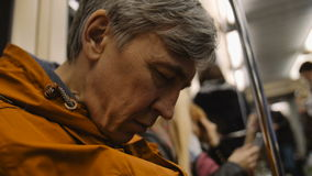 Man traveling by metro and sleeps. Man traveling by subway and sleeps stock video