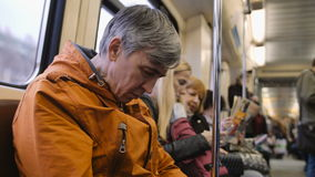 Man traveling by metro and sleeps. Man traveling by subway and sleeps stock video footage