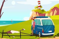 Man Traveling Near Seaside. A vector illustration of a Man Traveling Near Seaside royalty free illustration
