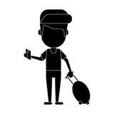 Man traveling passport dragging luggage pictogram Royalty Free Stock Photo