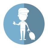 Man traveling passport dragging luggage shadow royalty free illustration