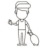 Man traveling passport dragging luggage thin line Royalty Free Stock Images
