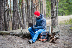 Man traveling in a pine forest. A man traveling in a pine forest Royalty Free Stock Photography