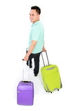 Man traveling with two suitcase Royalty Free Stock Photo