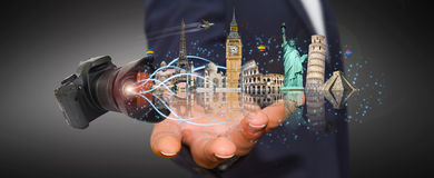 Man traveling the world with his digital camera Royalty Free Stock Photo