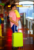 Man travelling with kid on hands. Young men travelling with kid on hands Royalty Free Stock Photo