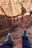 A man travelling at Petra, Jordan. Tourist attraction and travel destination in Jordan, Middle east royalty free stock images
