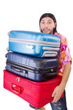 Man travelling with suitcases isolated Stock Image