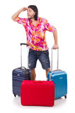 Man travelling with suitcases isolated Stock Images