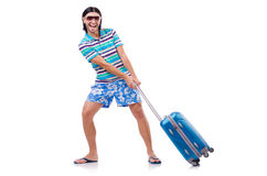 Man travelling with suitcases isolated stock photography