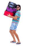 Man travelling with suitcases isolated Royalty Free Stock Image
