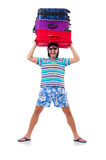 Man travelling with suitcases isolated Stock Photo