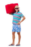 Man travelling with suitcases isolated Royalty Free Stock Images