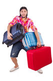 Man travelling with suitcases isolated Royalty Free Stock Photography
