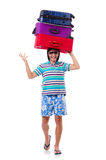 Man travelling with suitcases Stock Image