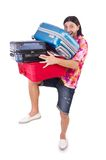 Man travelling with suitcases. Isolated on white Royalty Free Stock Photos