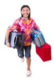 Man travelling with suitcases Stock Images