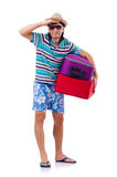 Man travelling with suitcases isolated on white Stock Image