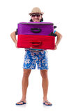 Man travelling with suitcases isolated on white Stock Images