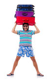 Man travelling with suitcases isolated on white Stock Photos