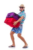 Man travelling with suitcases isolated on the Stock Image
