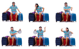 The man travelling with suitcases Stock Photography
